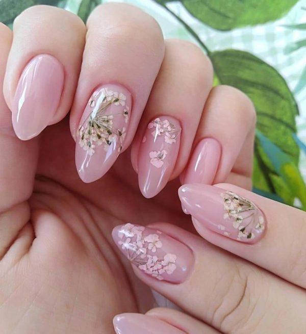 Маникюр с цветами гна длинные ногти