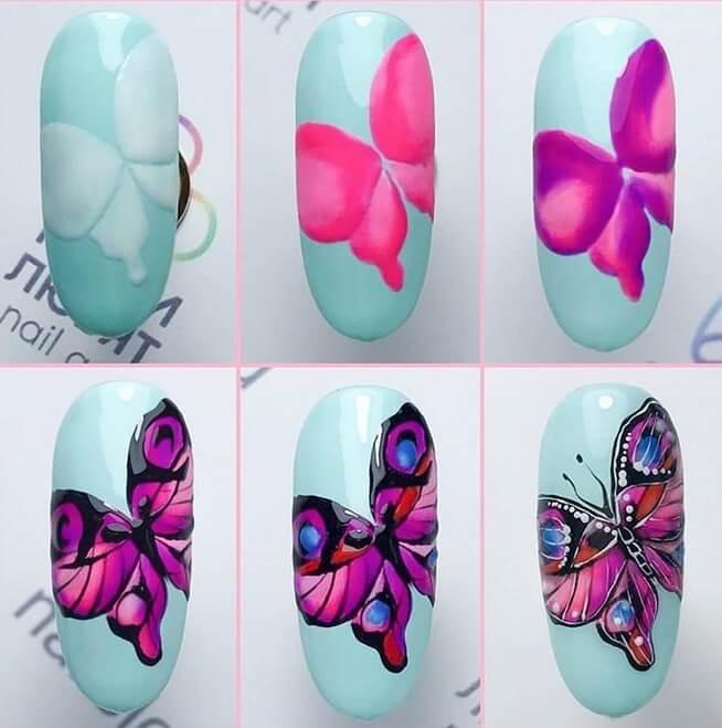 """Пошаговая иллюстрация дизайна ногтей """"Бабочка"""""""