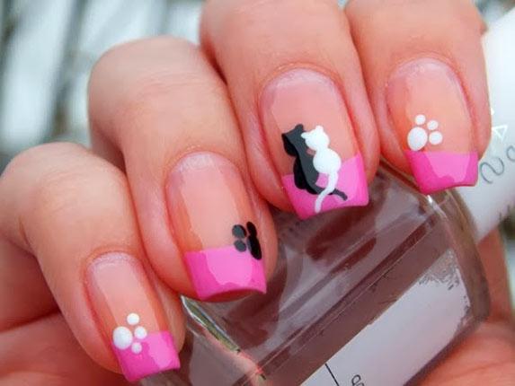 розовый френч с кошками