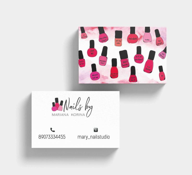 Образец визитки салона Marina Korina