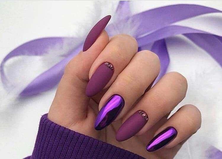Сочетание матового фиолетового и втирки