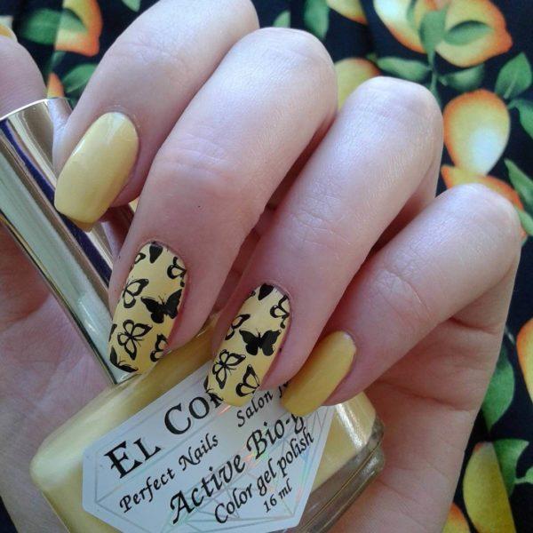 Желтый милый маникюр