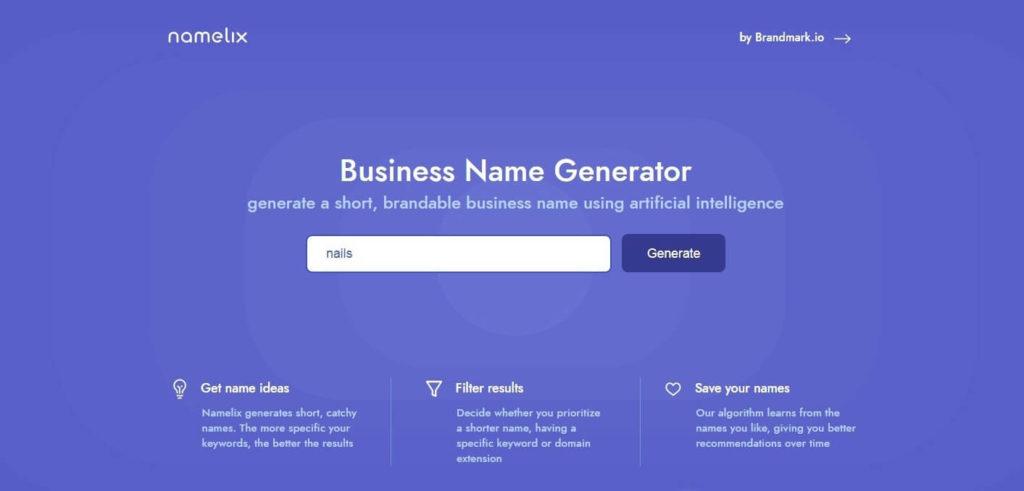 namelix - онлайн сервис генерации названий бизнеса