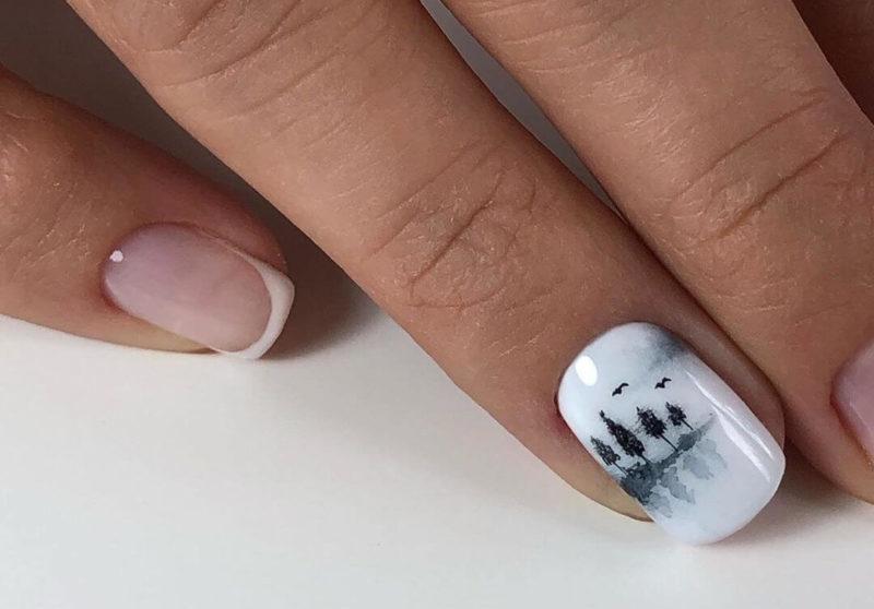 Необычная акварельная роспись на короткие ногти