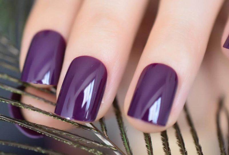 Однотонный сливовый дизайн ногтей