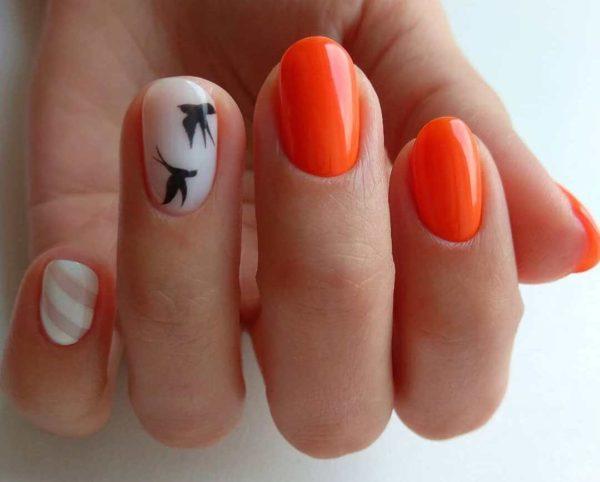 Оранжевый маникюр с птичками