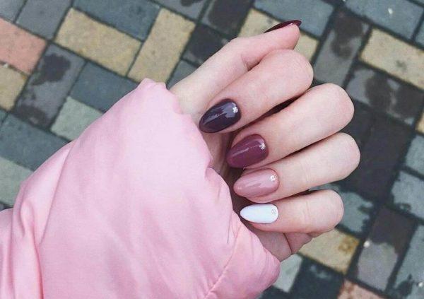 Осенний маникюр на длинные ногти