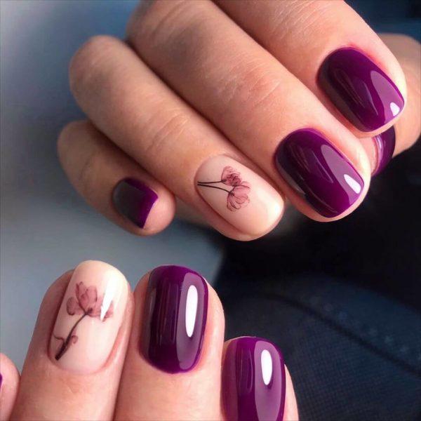 Фиолетовый повседневный маникюр