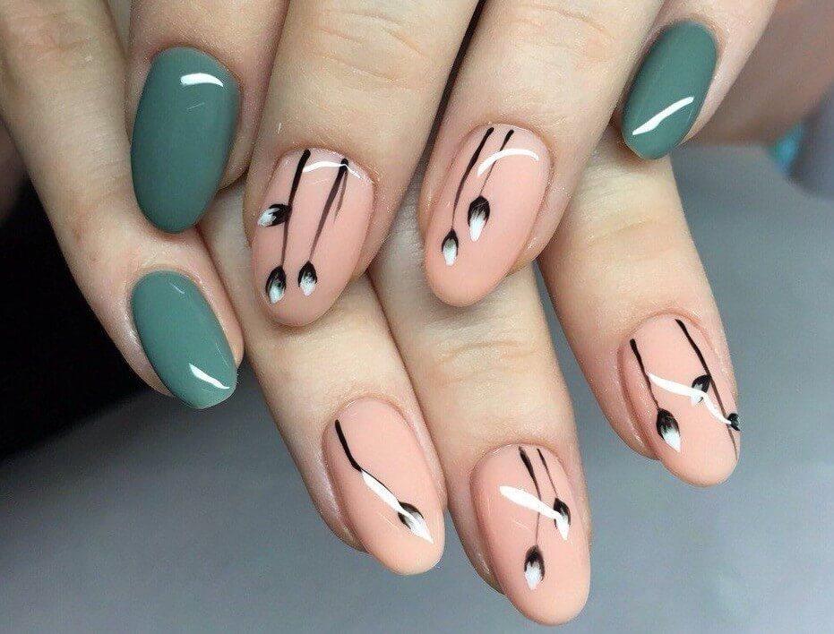 Простой весенний дизайн ногтей