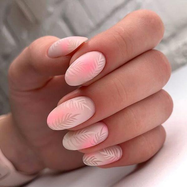 Простой маникюр на длинные ногти стемпинг