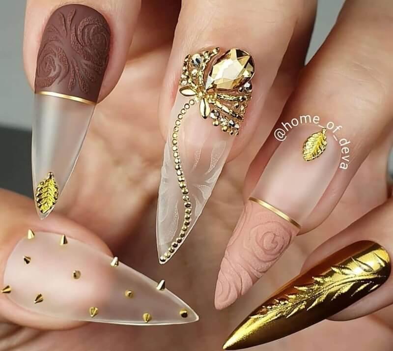 Прозрачный вязаный декор ногтей