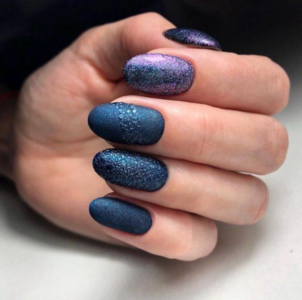 Сине-фиолетовый маникюр на длинные ногти