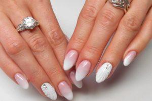 Свадебный вариант - дизайн ракушка на длинные ногти