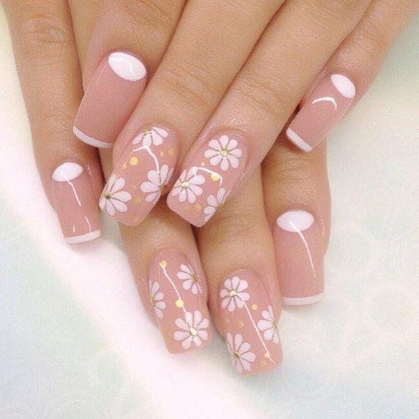 Ромашки роспись на ногтях