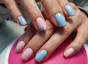 Розово голубой дизайн с сердечками