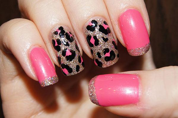 леопардовый дизайн ногтей в розовых тонах