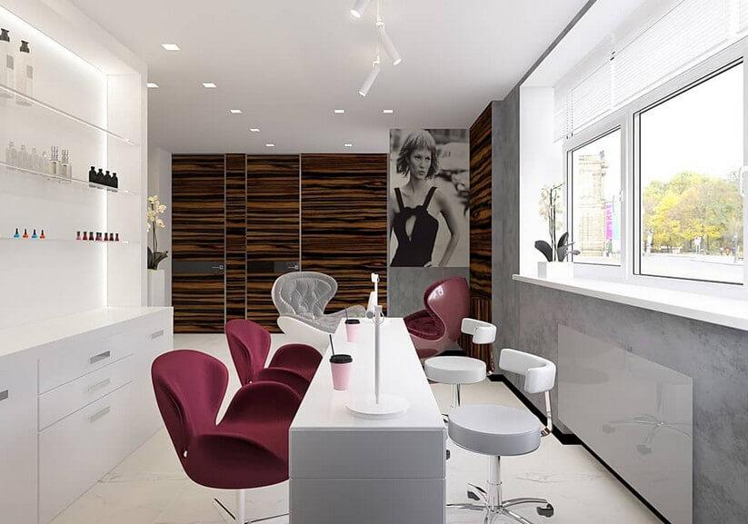 Бело-бордовый дизайн интерьера салона маникюра