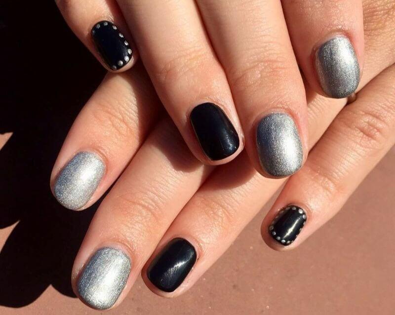 Черно-серебряный маникюр на короткие ногти