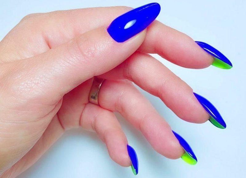 Сине-зеленый лабутен-маникюр