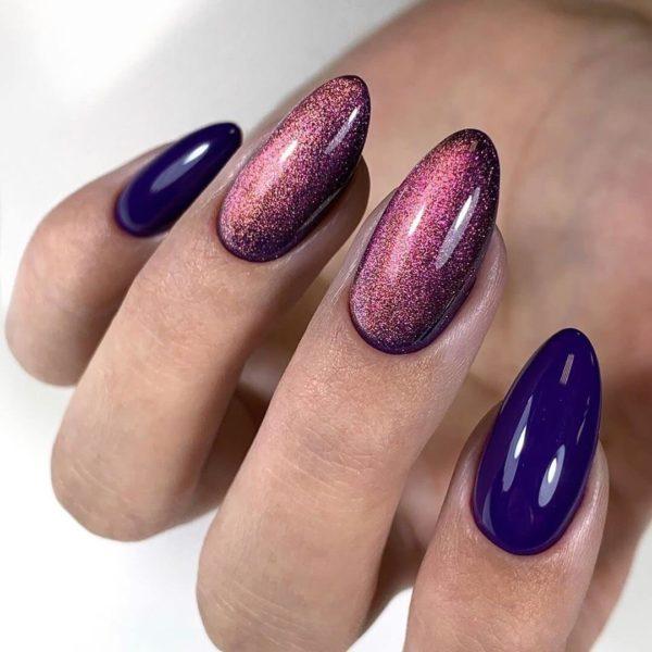 Идея синего маникюра на длинные ногти
