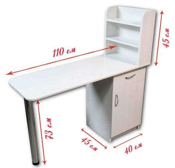 Размеры маникюрного стола