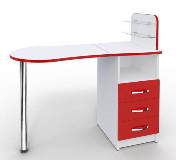 Стол с контрастной кромкой красного цвета