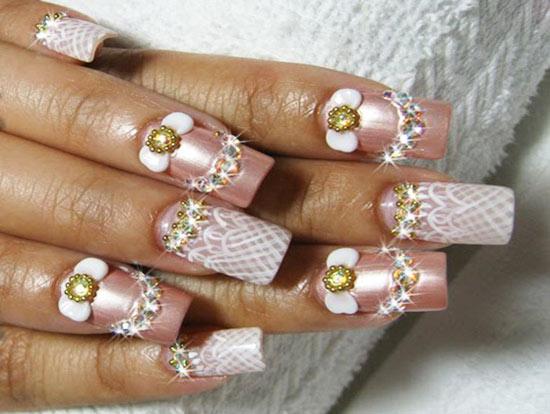 Свадебный дизайн ногтей под платье