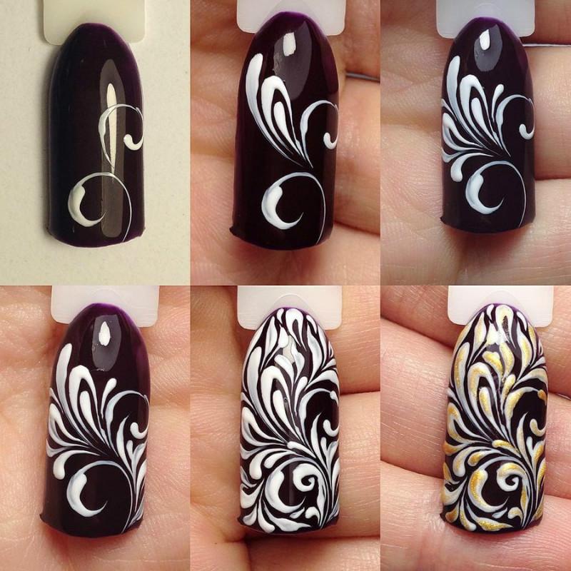 Схема вензеля на ногтях