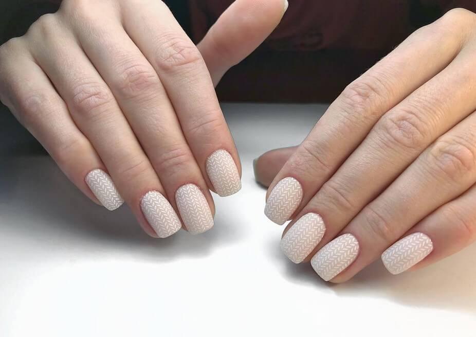 Вязаный рисунок на ногти