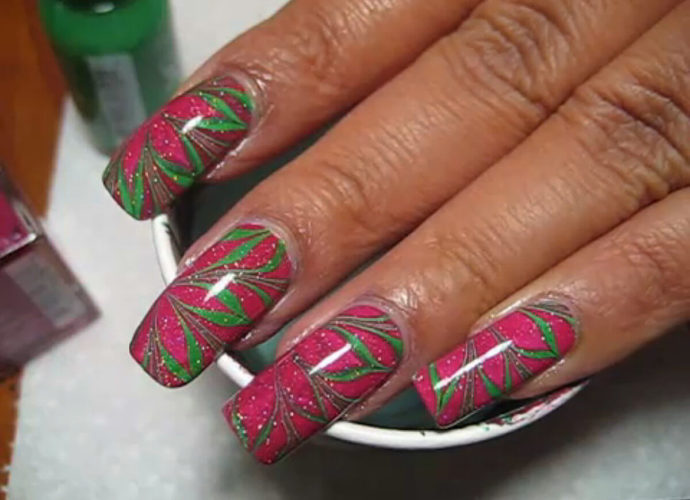 Пример выполнения водного дизайна ногтей