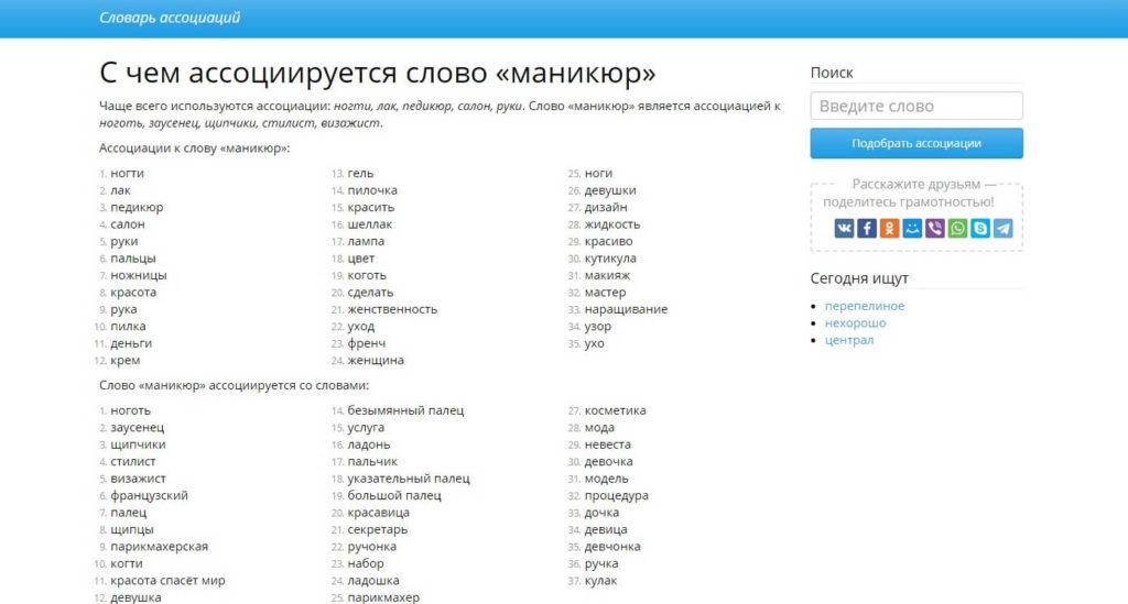 Сервис поиска ассоциаций слов wordassociation