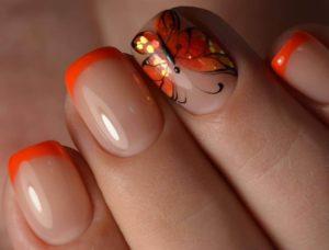 Роспись на коротких ногтях для свадебного маникюра
