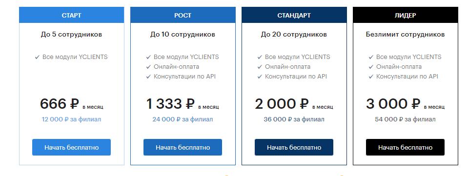 Тарифные планы Yclient